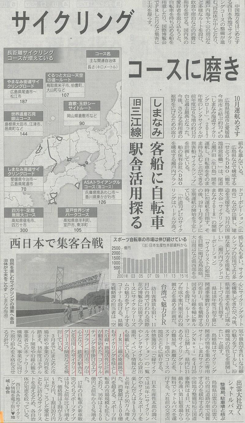日本経済新聞 サイクリングコースに磨き 5.2.jpg
