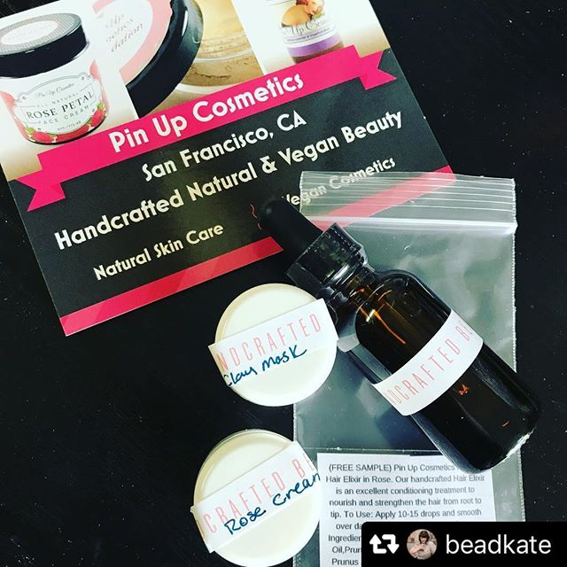 Thank you for supporting small local business 💕🌺@beadkate Repost @beadkate with @repostsaveapp · · ·  Aprill!! I adore my samples!! I put the Revive Hair Elixir on already and my bob has never looked more sleek than it does this very minute. I can't wait to try the rest. And @alfred_t_pickles Loves his catnip! Thank you so much! @pinupcosmeticssf #bestbbcreamever #shoplocal #sfmade #retrobeauty #naturalskincare