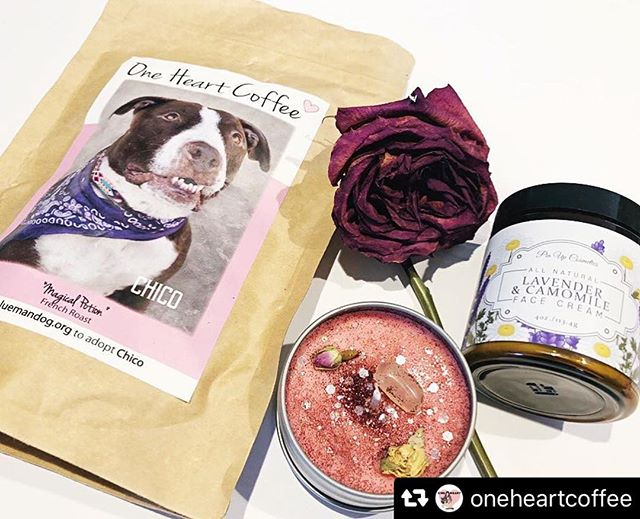 "Thank you so much for including our lavender and chamomile cream @oneheartcoffee I'm drooling over that gorgeous candle 😀💕🌺 #Repost @oneheartcoffee with @repostsaveapp · · ·  Our May boxes are almost gone forever! Only 4 boxes left.✨ . . Rose Quartz Candle by @meraki_goddess_  These candles include a rose quartz crystal that opens the heart to all kinds of love. ""It helps you raise your self-esteem, restore confidence & balance emotions. It is also one of the best crystals to use for positive self-affirmations."" (Retail Value $11)🌹 . . All natural Lavender & Camomile face cream by @pinupcosmeticssf. (Retail Value $35)💕 . . Just these two items alone are worth $46 and the box Retail values at almost $80! All items included are by boss babes.🦋 . . With each box purchased you support us, rescue, animals and other women run business.🐶☕️👧🏻 . . Link in bio before they're all gone. Make sure to subscribe to never miss out on a box! Snag a subscription for human and fur mamas day. #oneheartcoffee"
