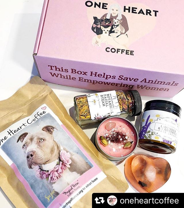 "🐶❤️🌺 #Repost @oneheartcoffee with @repostsaveapp · · ·  Closer look inside our May box! All products are vegan and from women run small businesses.👸🏻 . . 1)Bag of organic @oneheartcoffee coffee.(Retail Value $10.50)  2)Botanical Facial Steam a blend intended to calm and clarify your skin. (Retail Value $14) @pinupcosmeticssf  3)Lavender & Chamomile all natural face cream. (Retail Value $35) @pinupcosmeticssf  4)Rose Quartz Love Bar-Roses, honey suckles, and rose quartz have metaphysical properties of love. (Retail Value $7) @cozycoveshop  5)Rose Quartz Candle opens the heart to all kinds of love. ""It helps you raise your self-esteem, restore confidence & balance emotions. It is also one of the best crystals to use for positive self-affirmations. (Retail Value $11) @meraki_goddess_ 💕 . . Our May cover model Suzee was adopted!!!!! Visit @underdogalliance to see all the dogs they have looking for homes.🐶 . . We no longer have May boxes up but head to the shop and make sure to subscribe for our June box! Link in bio.✨ . . Tag a friend below who loves dogs, coffee and self care⬇️) #oneheartcoffee www.oneheartcoffee.net"