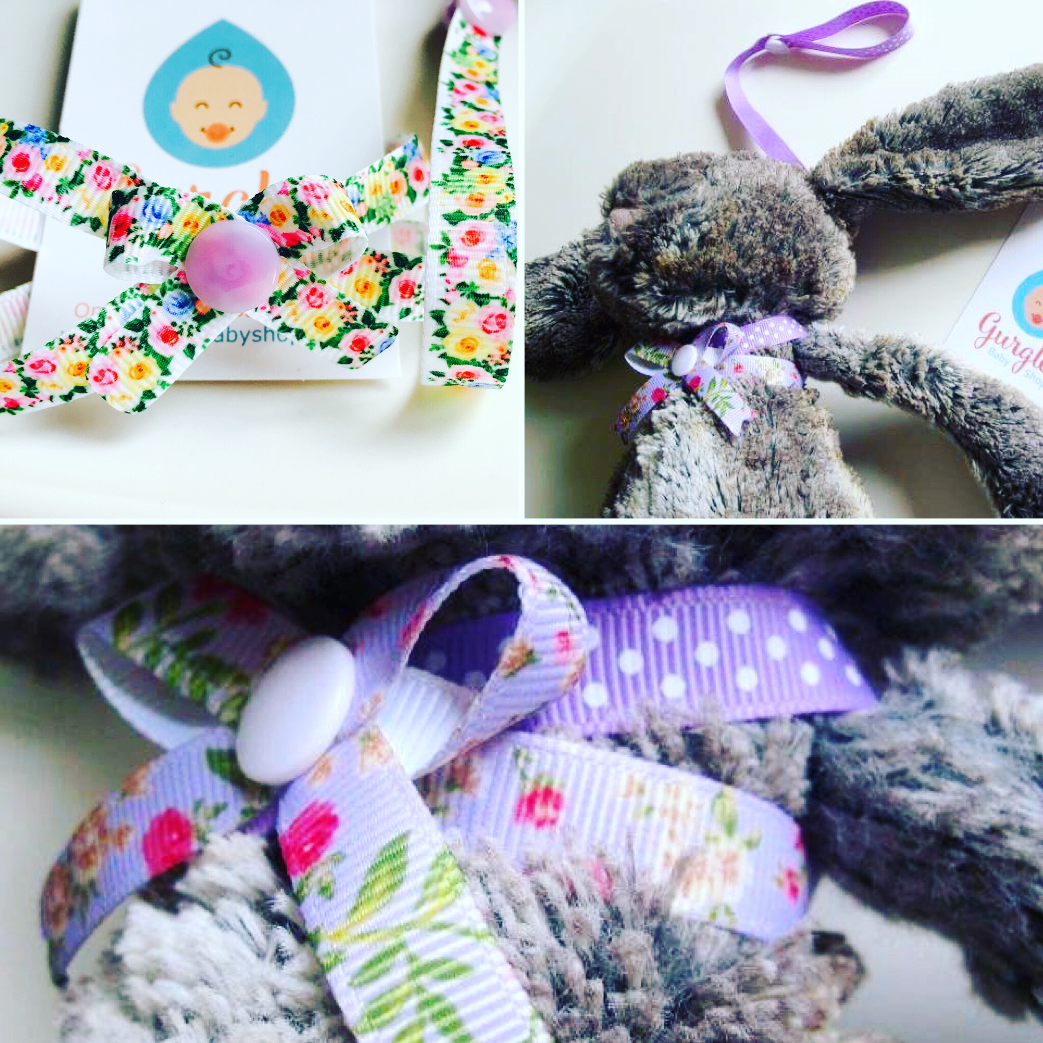 Gurgles Jellycat harness - This harness is a registered design ®. It was designed by myself in 2015 originally to fit a giraffe comforter toy for my daughter. I have now designed and produced so many variations of the harness. It is great to see so many of you love it!Jellycat size chart - Medium H31 cm, Small H18 cm, Tiny H13 cm.Have yours made for any toy, ooooh and did you see the ribbon selection?Gurgles ribbon selection