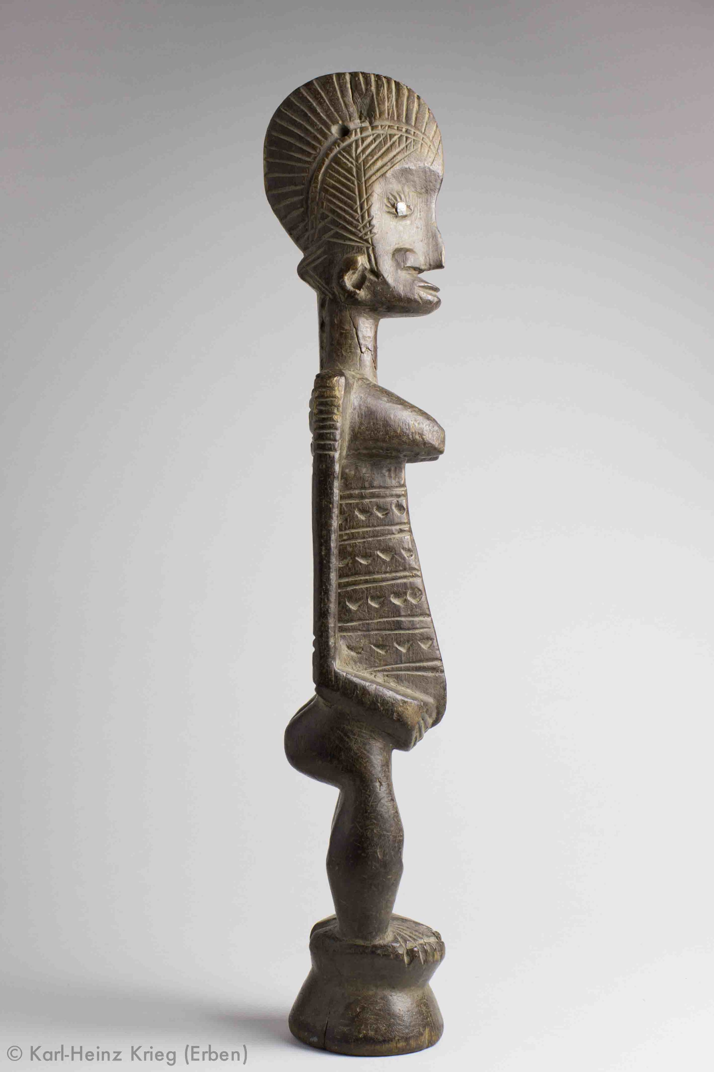 Female figure Tinnin Fané Acquired in 1996 in Fakola (Mali) Used by a diviner from the Bambara group Wood, H. 47 cm