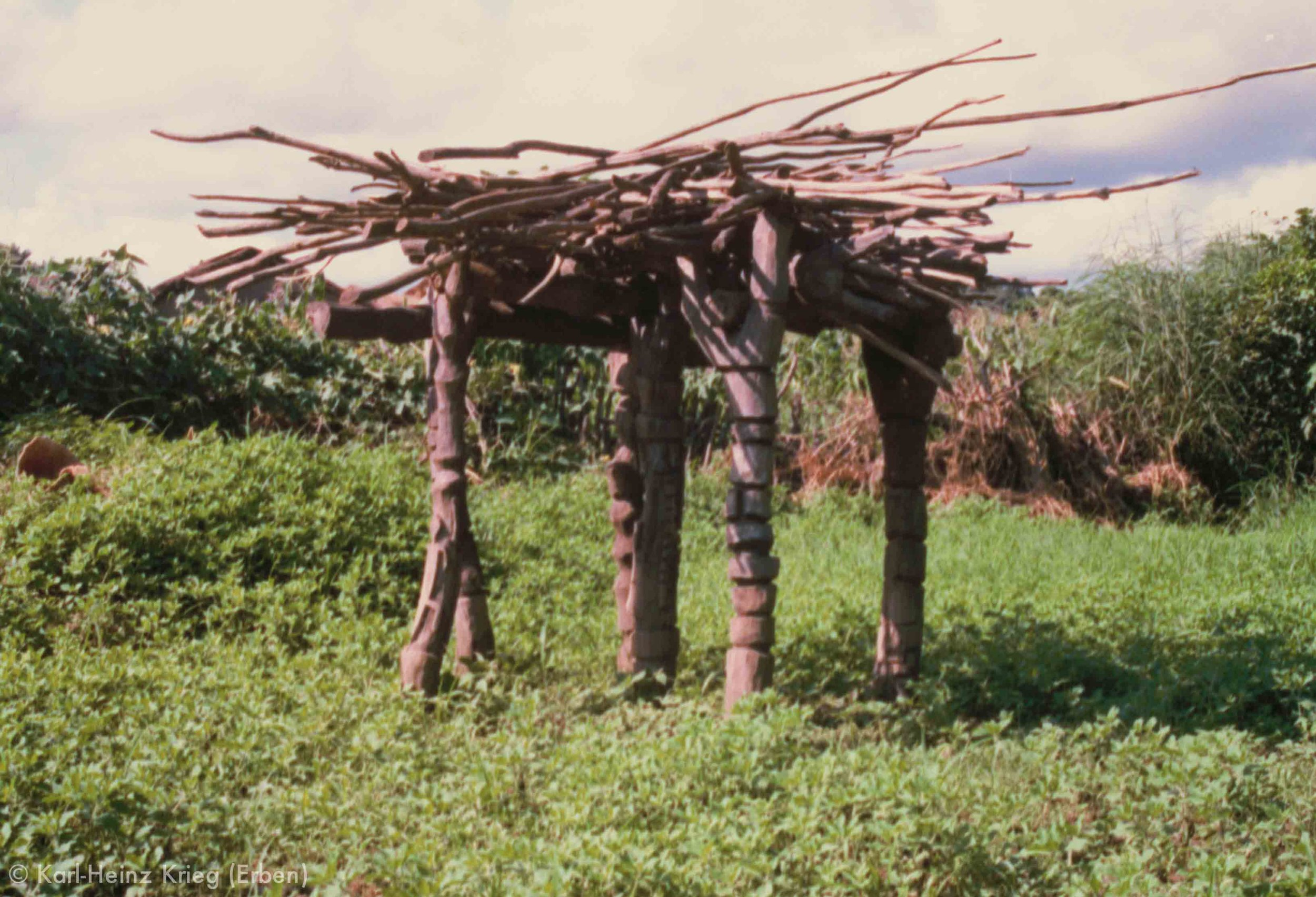 Schattendach der  Plale  im  Wezo , dem Vorhof zum heiligen Hain von Kounoumon. Foto: Karl-Heinz Krieg, Kounoumon (Region von Boundiali, Côte d'Ivoire), 1980