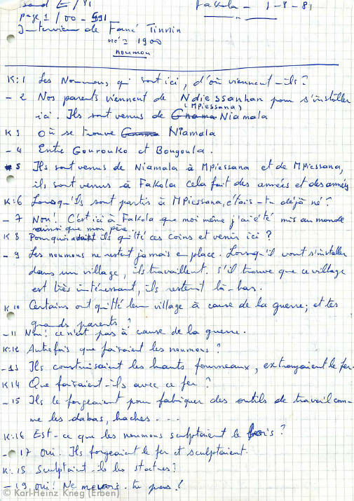 Interview with Tinnin Fané, page 1/6 French Translation by Sedion Dotremene Archive by Karl-Heinz Krieg, Tinnin Fané