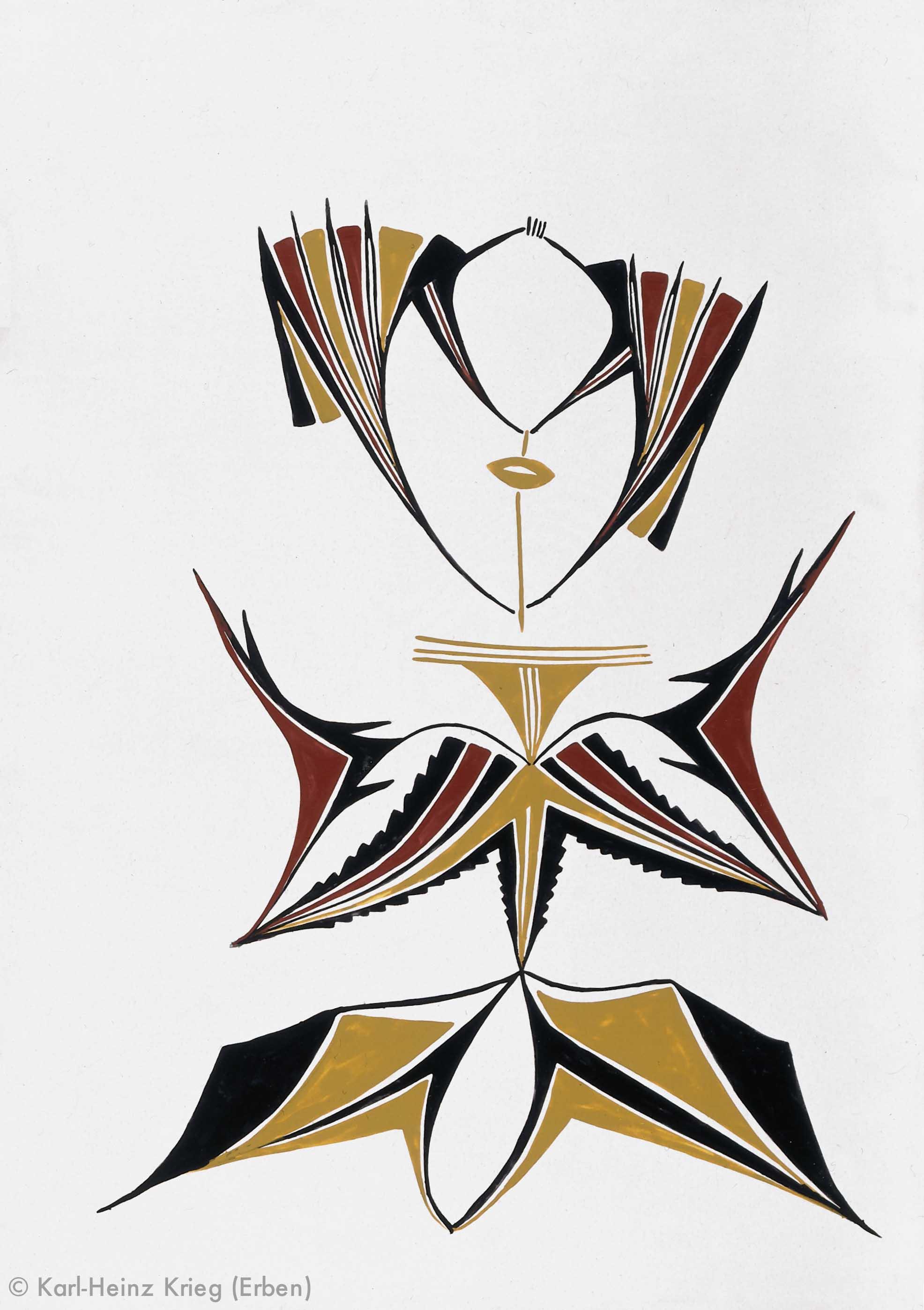 Kolouma Sovogi Komagavhodai, Zèghèlèwöni, Kosuvhodai, 1996 Acryl/Zeichenkarton, grundiert 59 x 83,8 cm Werknr. 35–1996/90