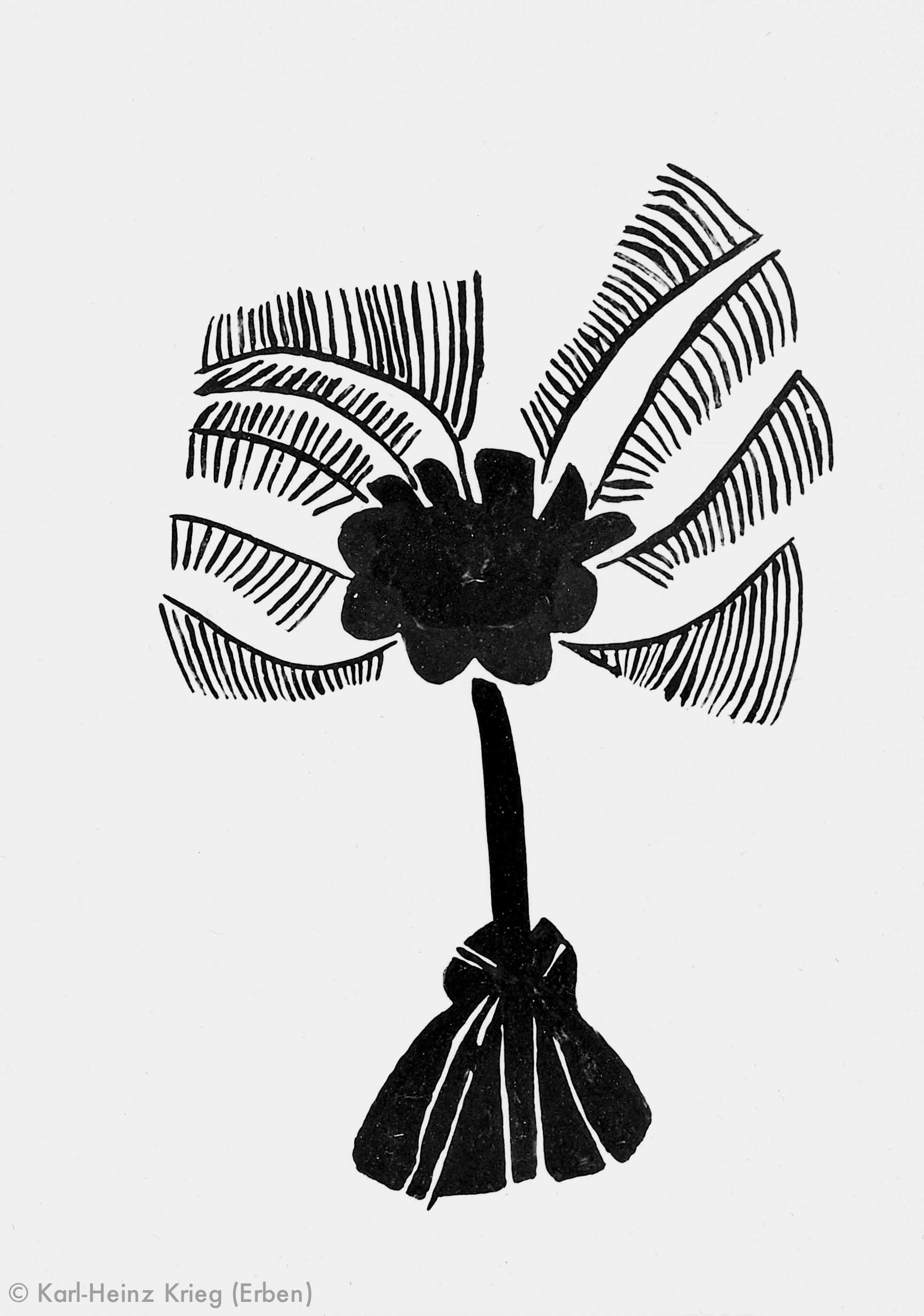 Komassa Guilavogi Palme, 1996 Acryl/Papier 40,8 x 29 cm Werknr. 17-1996/10