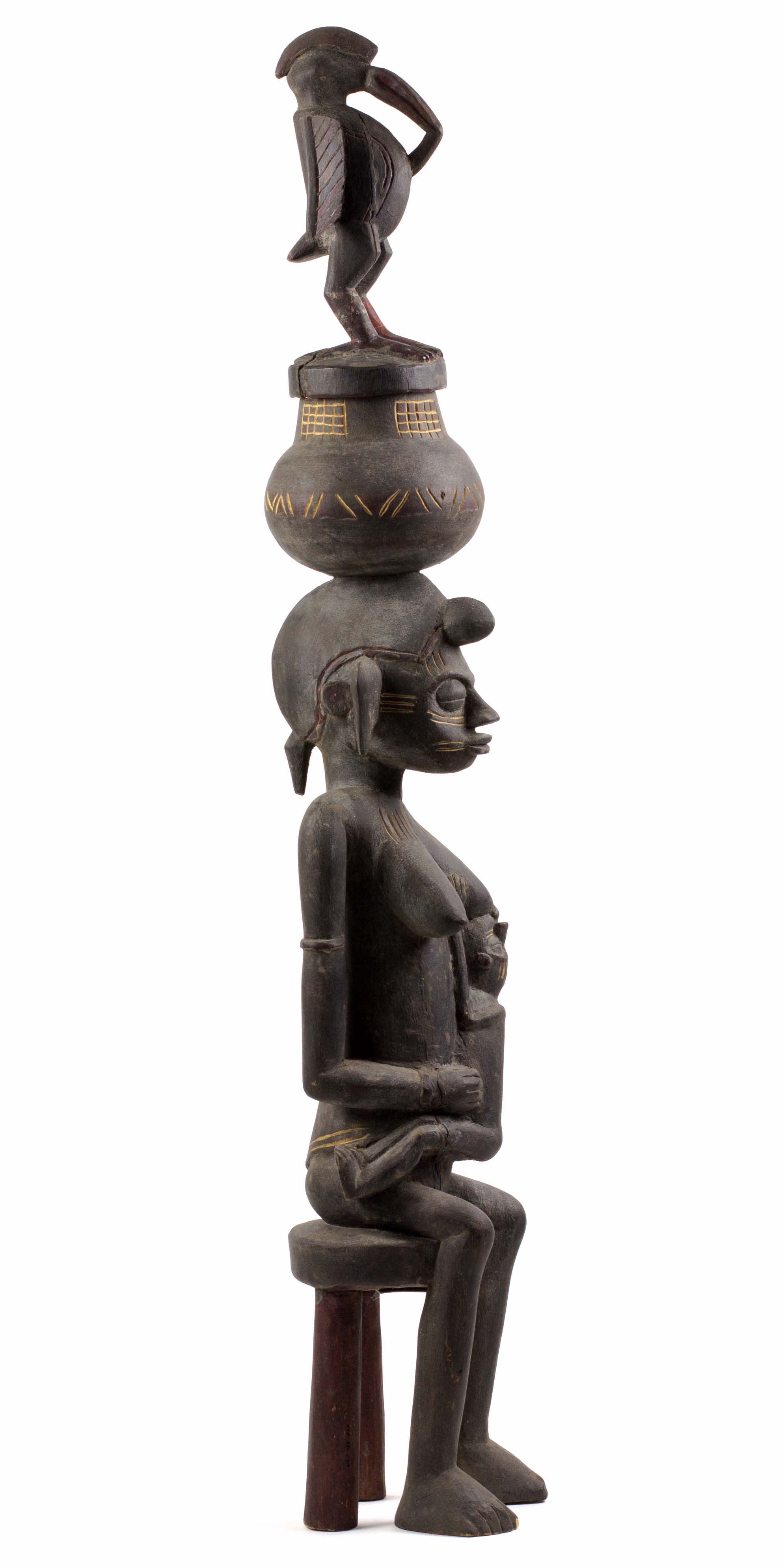 - Mother-and-child figureYnadjo KonéKolia (Region of Boundiali, Côte d'Ivoire)Carved in 1976 for Karl-Heinz KriegWood, H. 88 cm