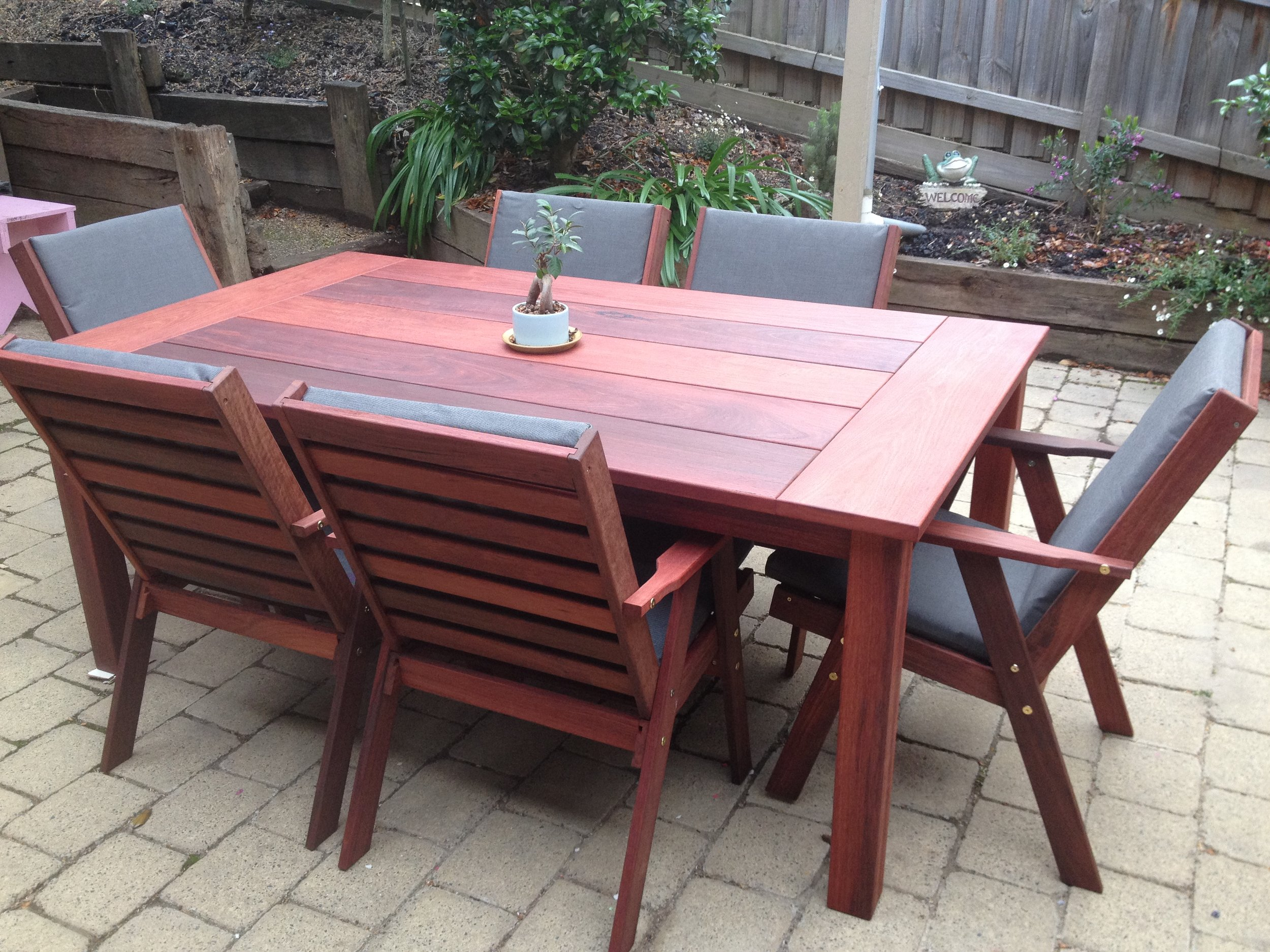 Wideboard Jarrah table for 6