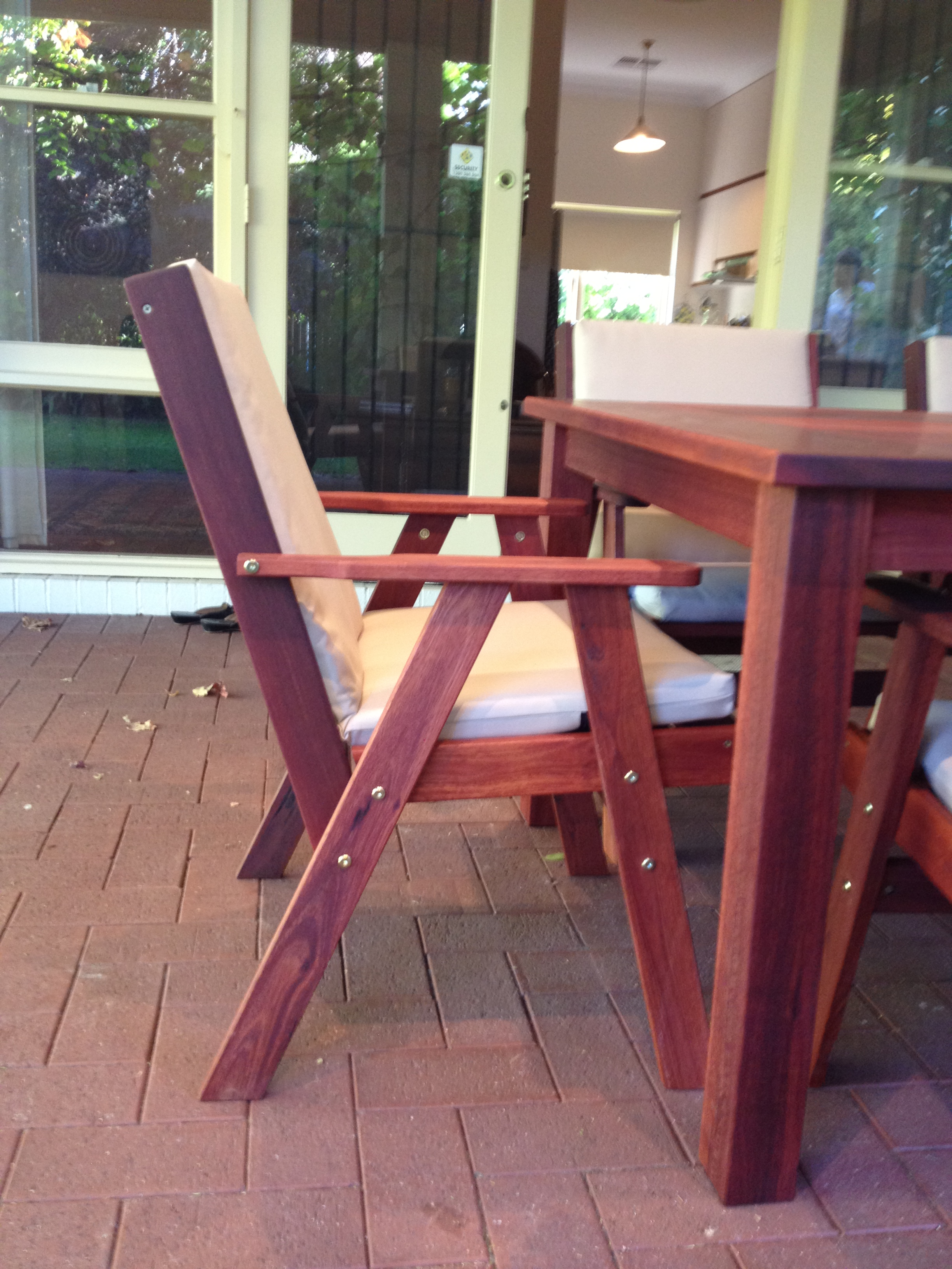 x3 Jarrah outdoor chair with reversed back to hold cushion.JPG