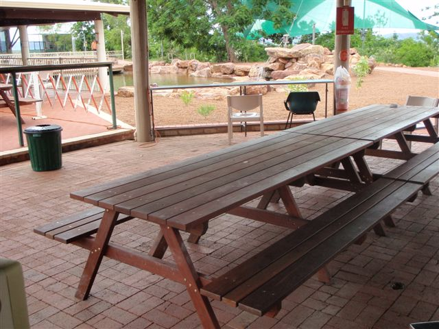 e12 Port 8 seater picnic tables with benches attched at miners camp - Copy - Copy.JPG