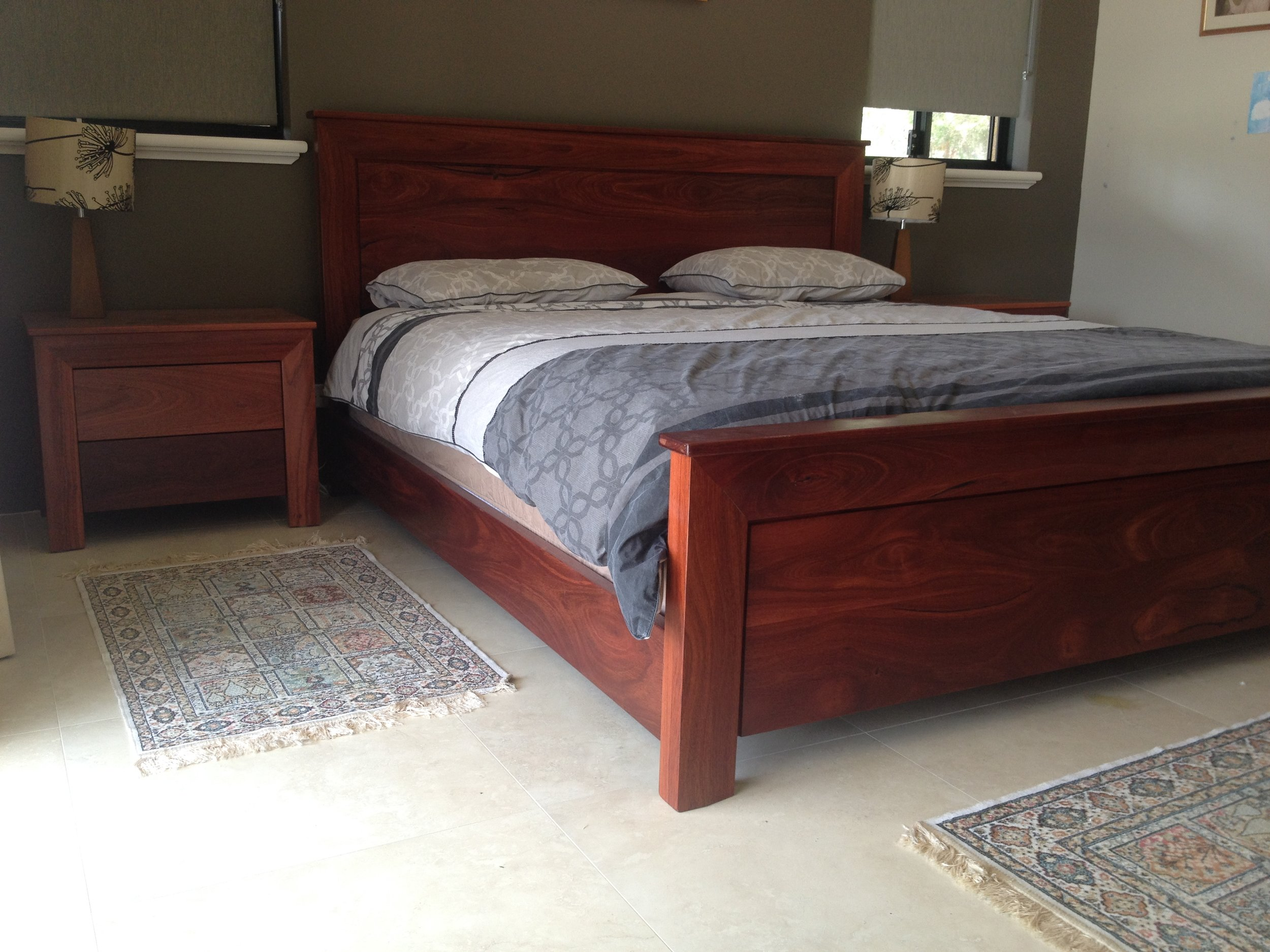 Kingsize Jarrah bed foot end.JPG