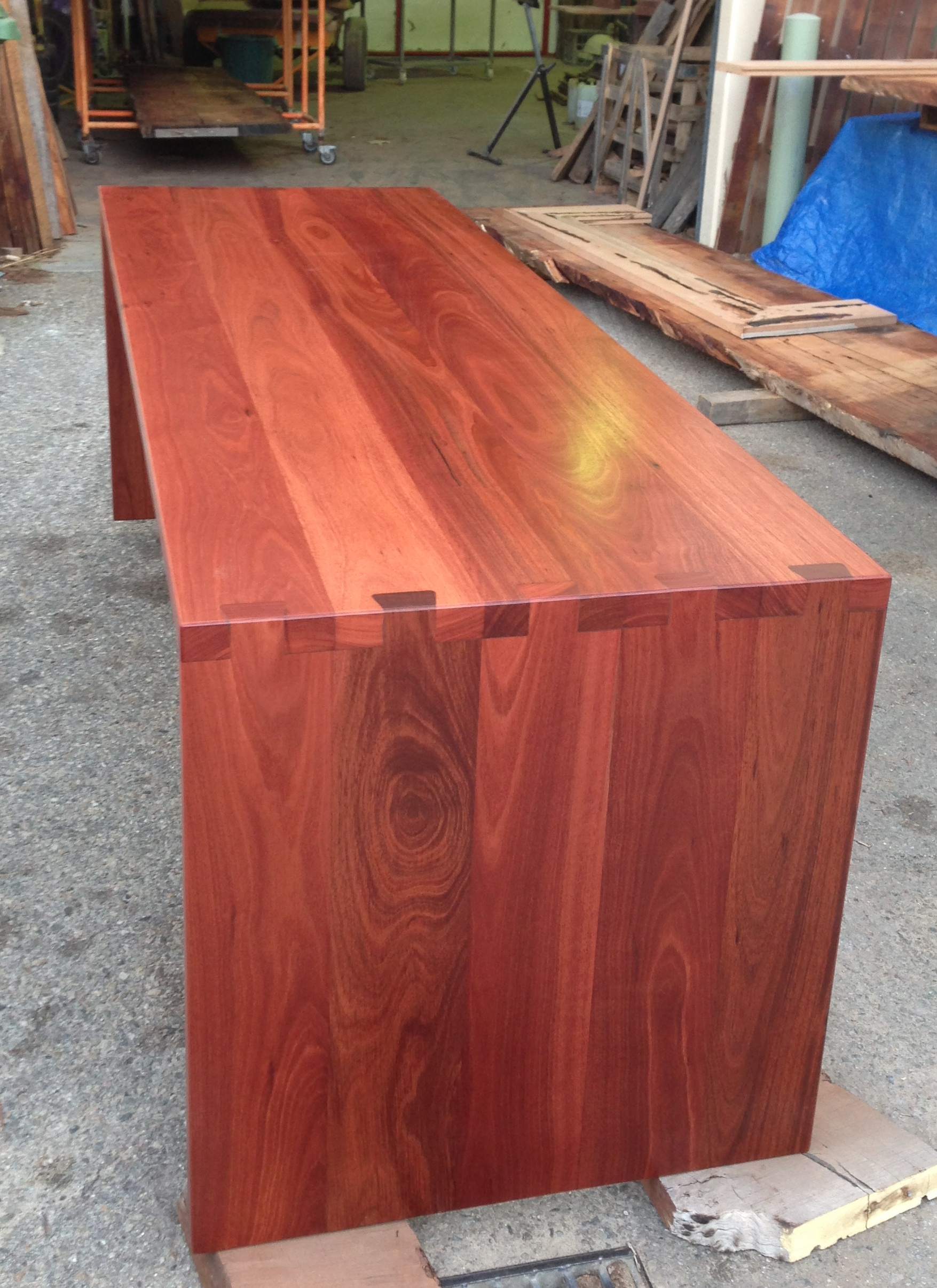 Jarrah desk with extra large dovetails 2900mm long