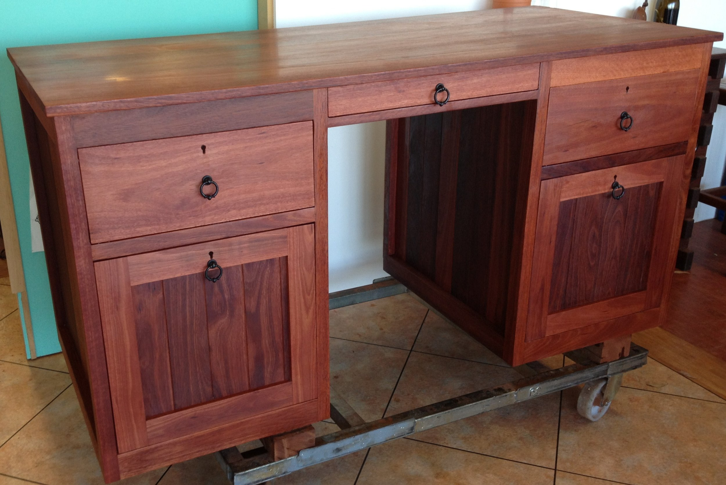 Jarrah desk with file drawers and secret storage