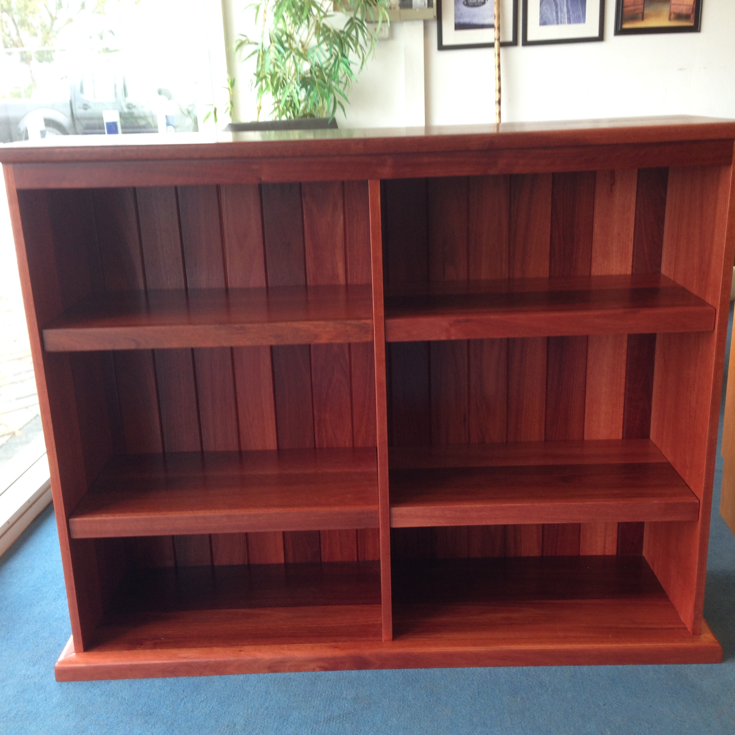 Jarrah custom low bookcase 900 x 1200 x 350 mm