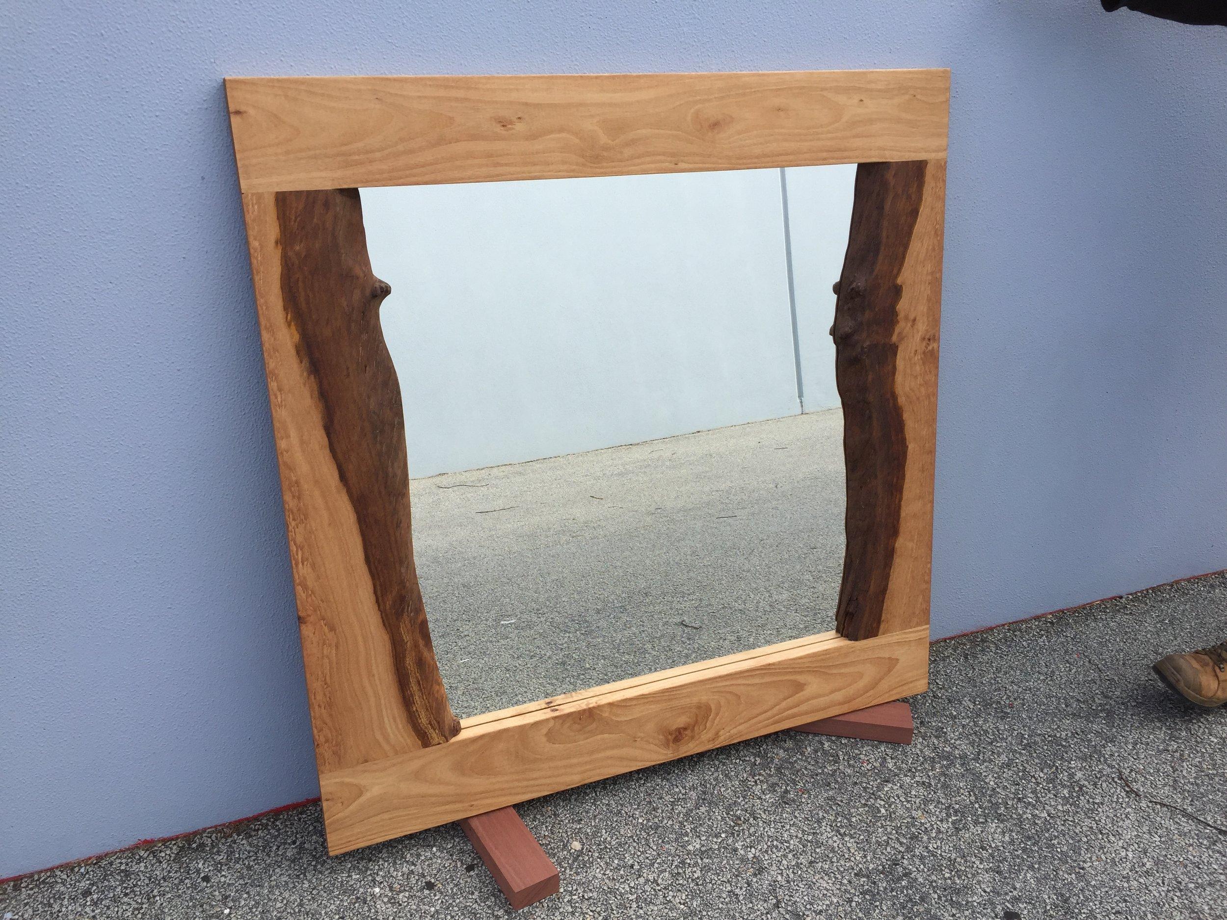 Blackbutt natural edge mirror  to go outdoor