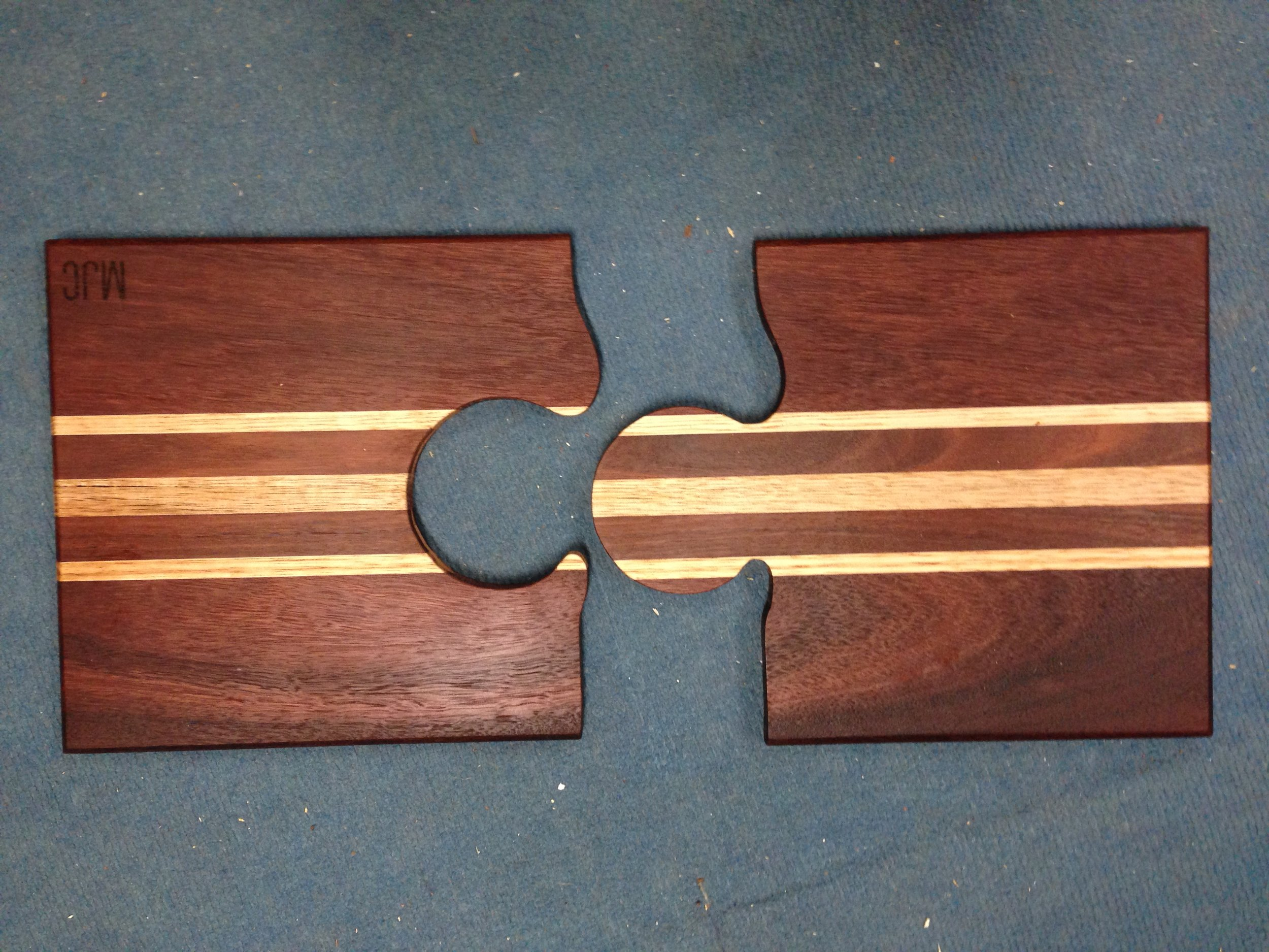 Jarrah & Chestnut puzzle chopping board