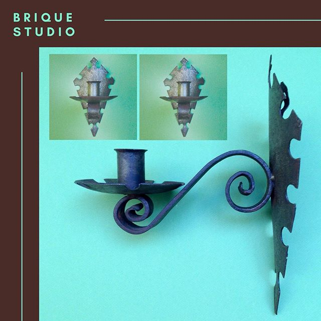 A smart pair of French solid forged iron candle sconces on shield wall plate.  Height 300mm Max Width 160mm Projection from wall 245mm  Weight per unit 1100g 🏷 Available via @etsy https://etsy.me/2J8alax  #antiquelighting #medievalstyle #interiordesign #interiorstyling #Christmasdecor  ___ BRIQUEStudio.com https://www.etsy.com/uk/shop/BRIQUEstudio  Contact(at)BRIQUEStudio.com Twitter: @BRIQUEtweets Instagram: BRIQUE_studio Facebook: TheBRIQUEstudio  #FrenchVintage #FrenchAntique #FrenchCountry  #MidCentury #MidCenturyModern #Kitchenalia #AffordableArt #VintagePosters #FolkArt #AntiqueCopper #ArchitecturalAntiques #ReclaimedHardware #Gardenalia
