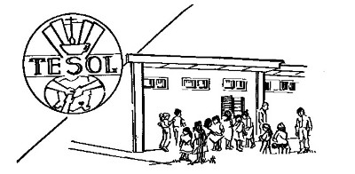TESOL's original logo was designed by volunteer Judy Engle from a photo of founding director Pete Galley and children in front of the first TESOL building on Lycée Français Blaise Pascal property in 1988.