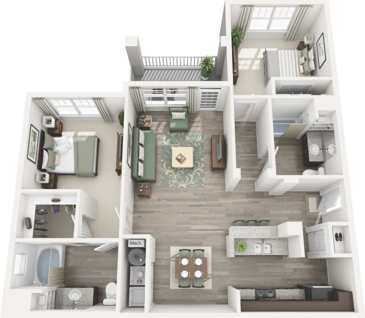 Featured above is the Atlanta Floorplan. This is a 2 bedroom/2bathroom split bedroom plan. It is subject to change and may not be exactly like the floorpan of the unit you will receive. However, it is pretty accurate and should give you a good idea of what the layout of your living quarters will be like.
