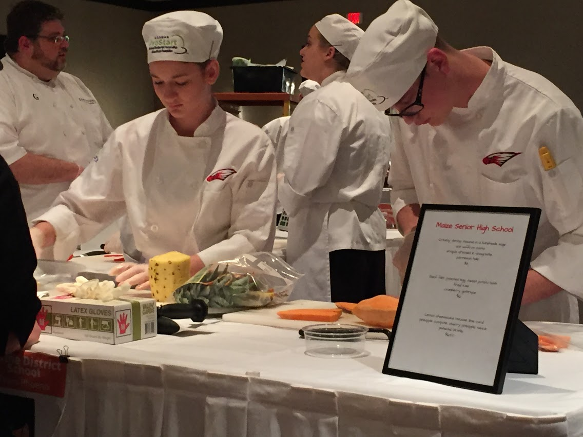 Culinary students working together