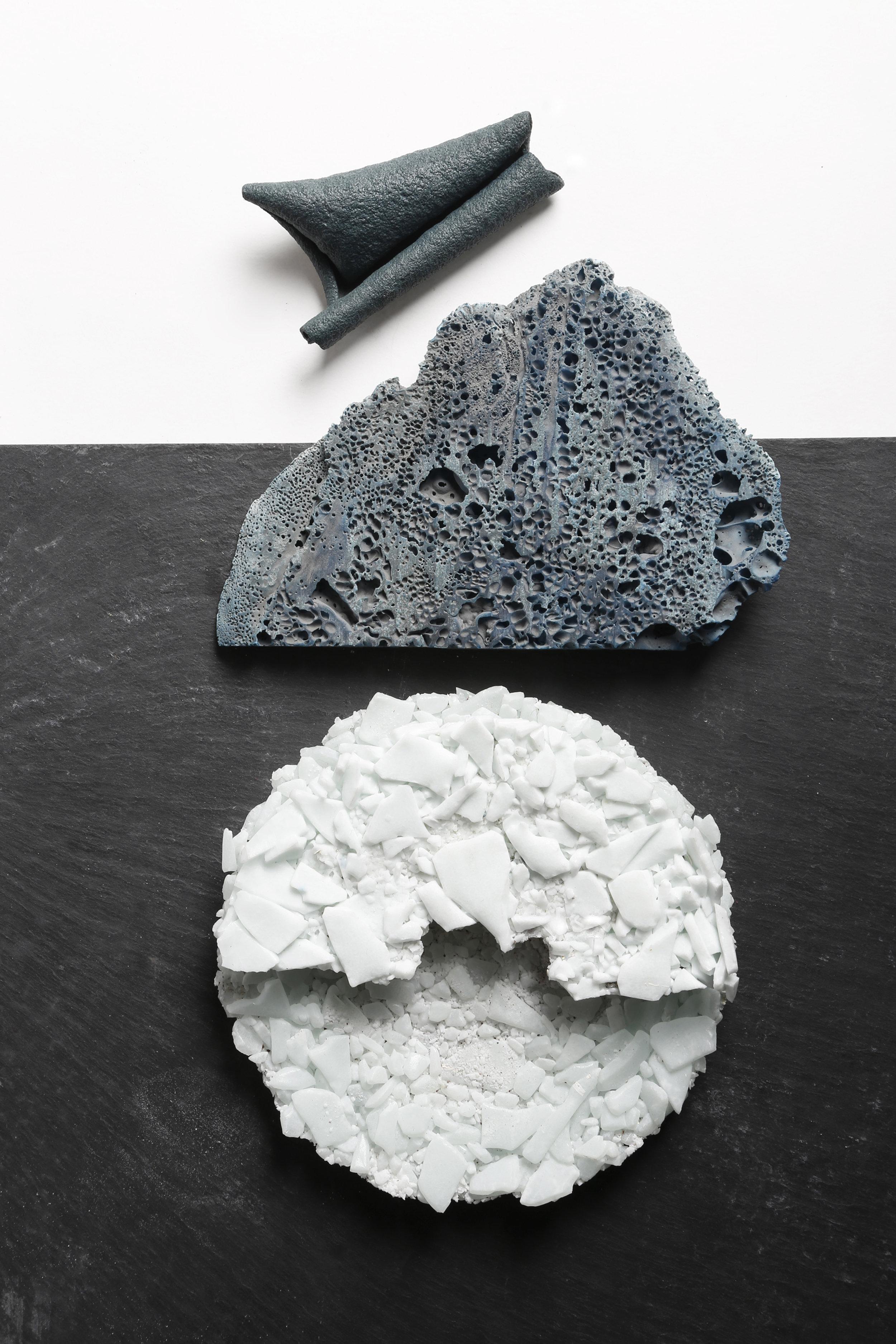 Leather, Silver wood paper & Helipora foam
