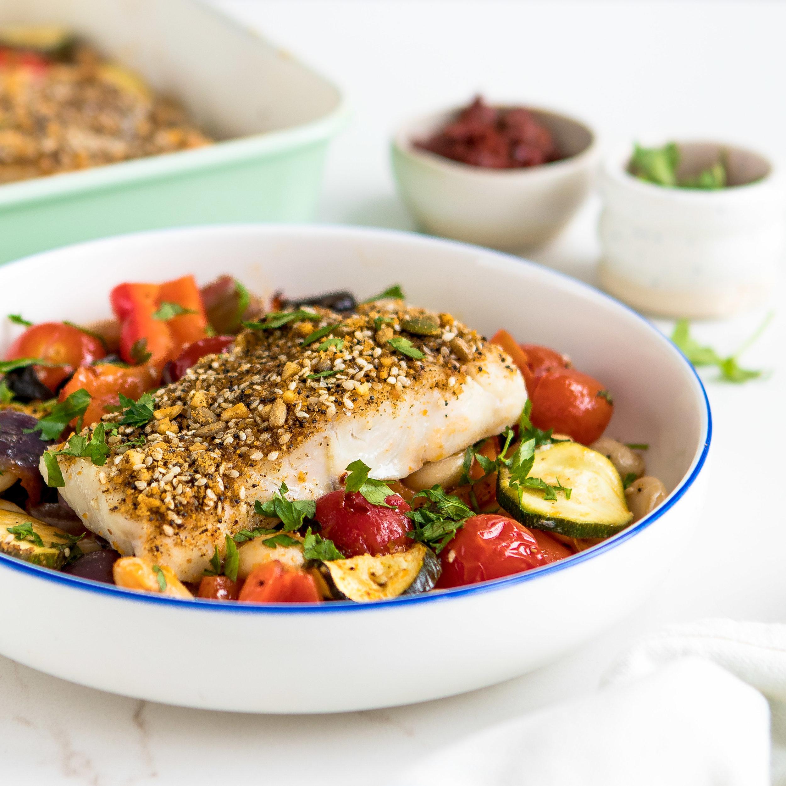 Dukkah cod & vegetable bake, rose harissa_3.jpg