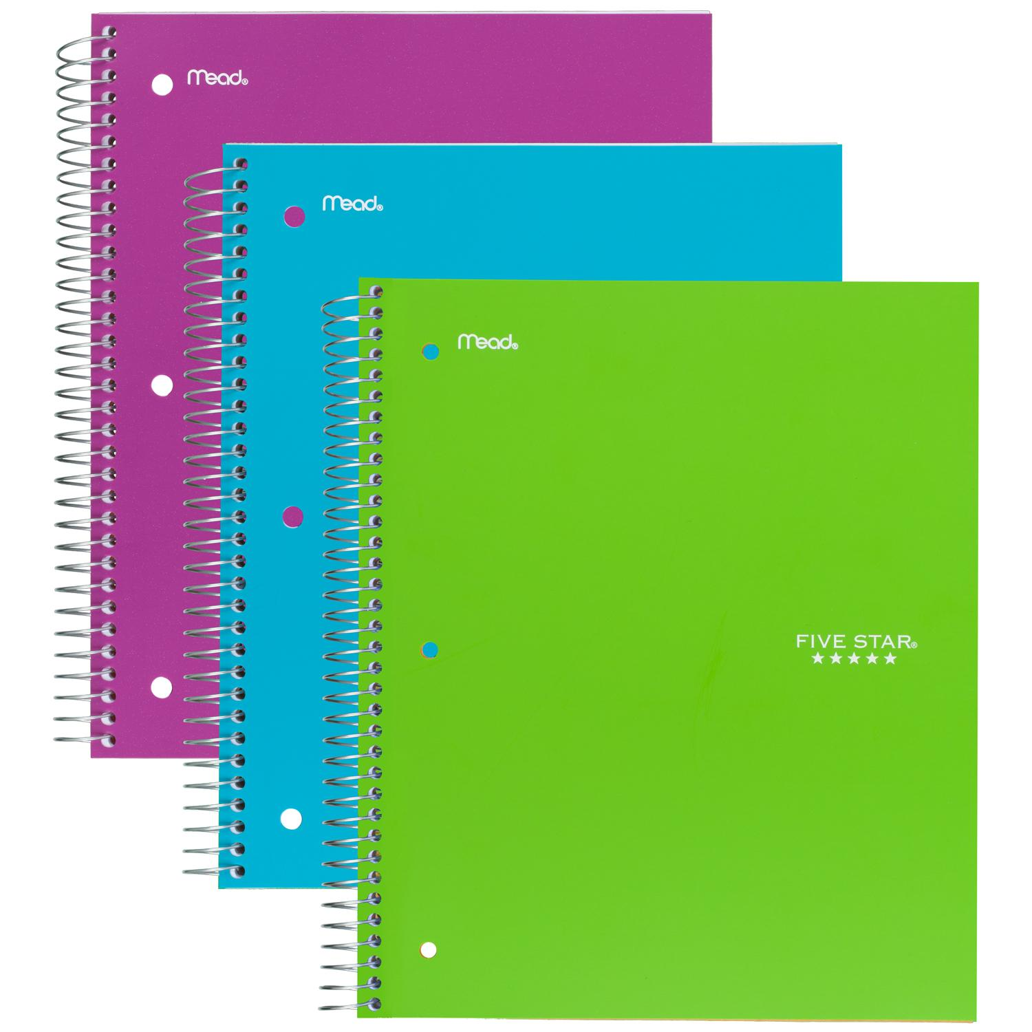 (3) Spiral Notebooks - Approximate Cost $5.00
