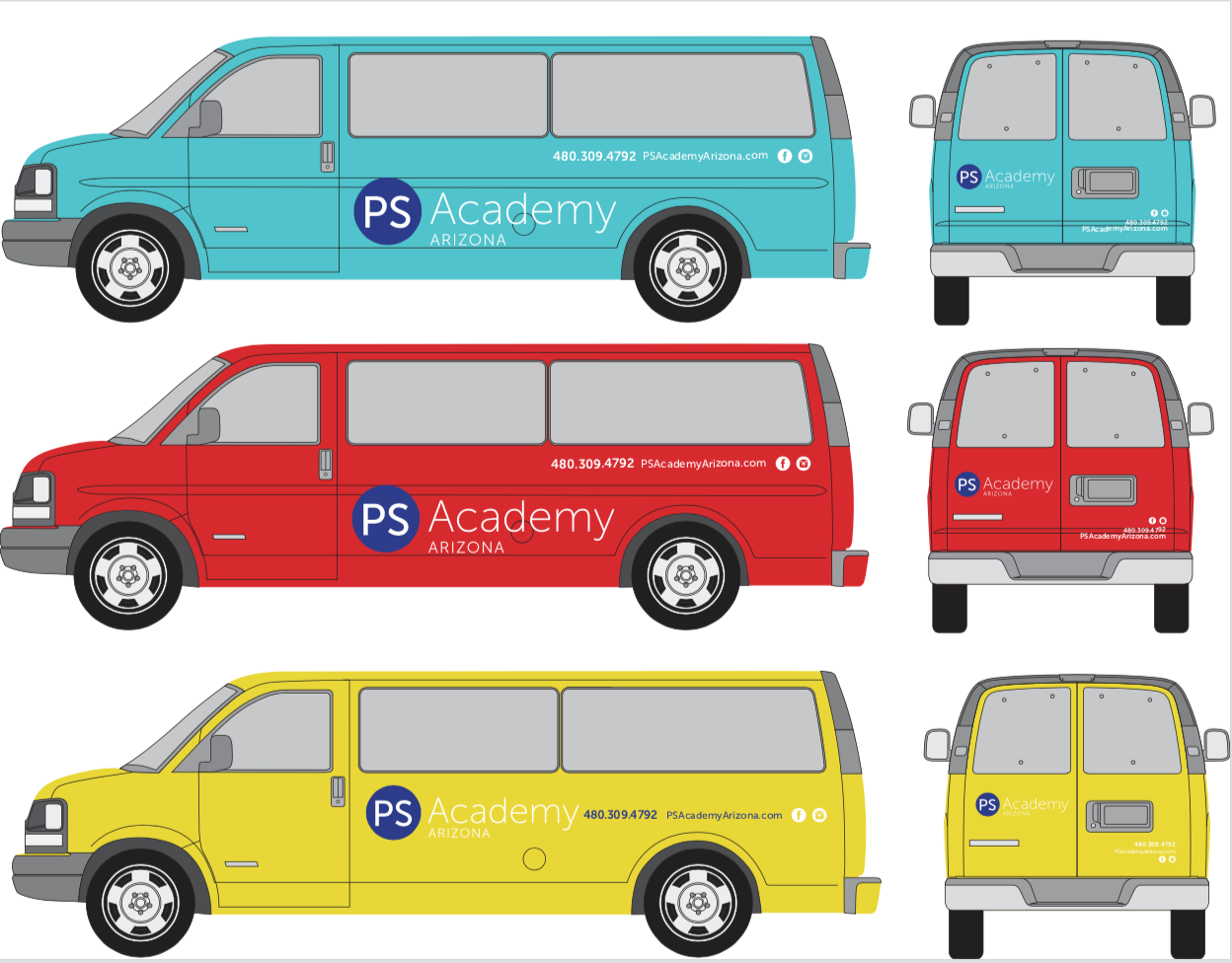 A few renderings of the vehicles you'll see picking students up!