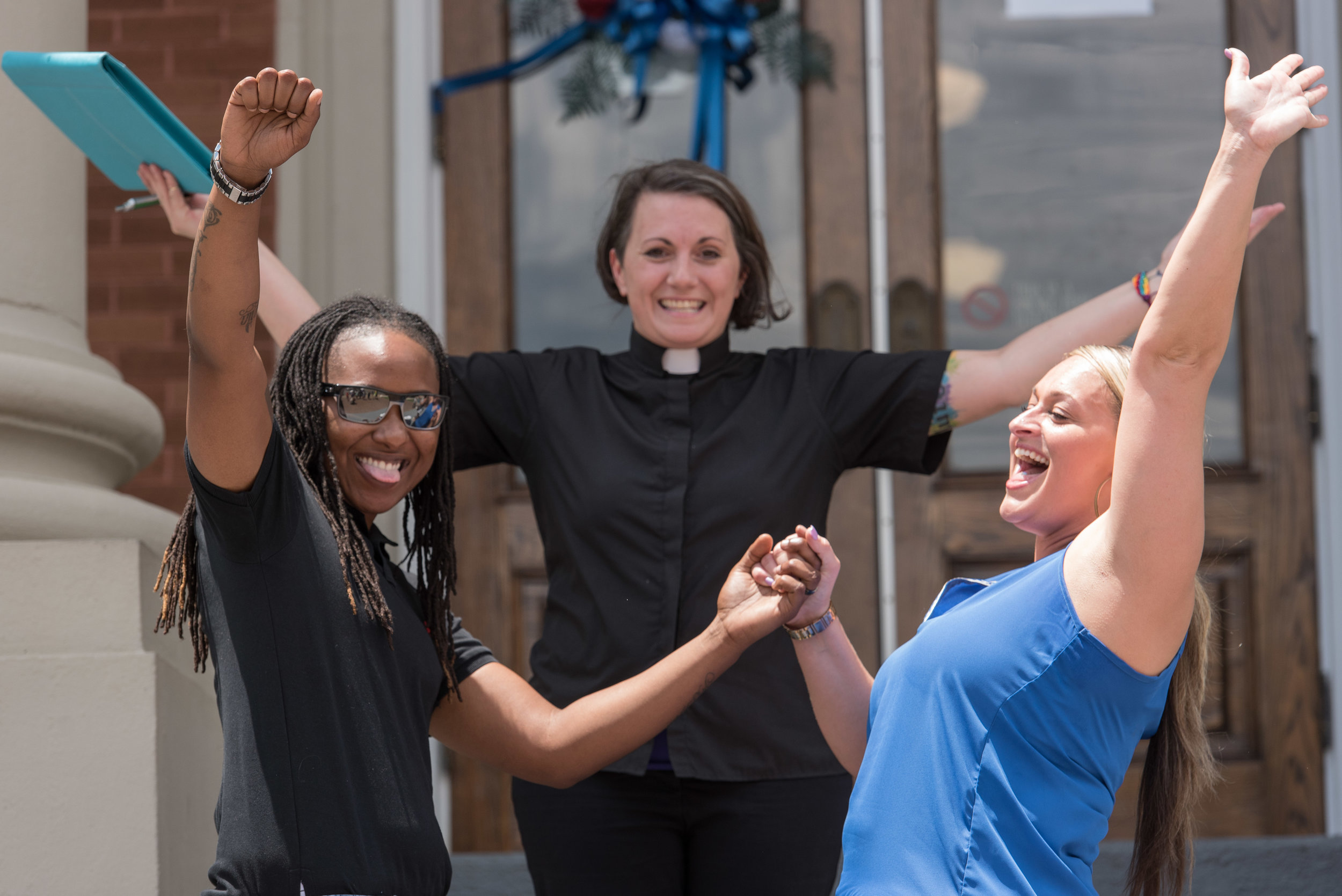Celebrating, Cameron Stewart, left, and Amber Cameron, right,  are married by minister Brandiilyne Dear at Forrest County Courthouse in Hattiesburg, following the Supreme Court decision to legalize gay marriage across the United States. Stewart and Cameron are the third same-sex couple to be legally married in Forrest County. June 26, 2015.