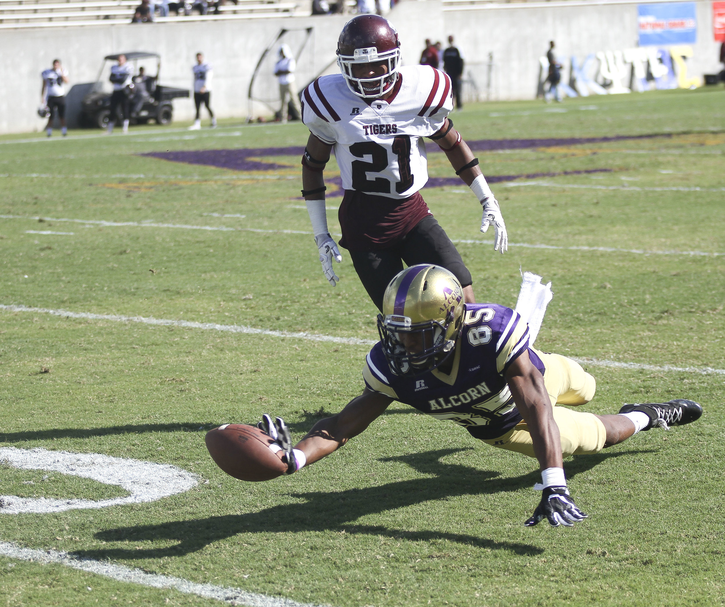 Norlando Veals dives for a pass during second quarter of play during Alcorn State's homecoming game. The Braves defeated the Tigers 23-20 to mark their fifth straight victory over Texas Southern.
