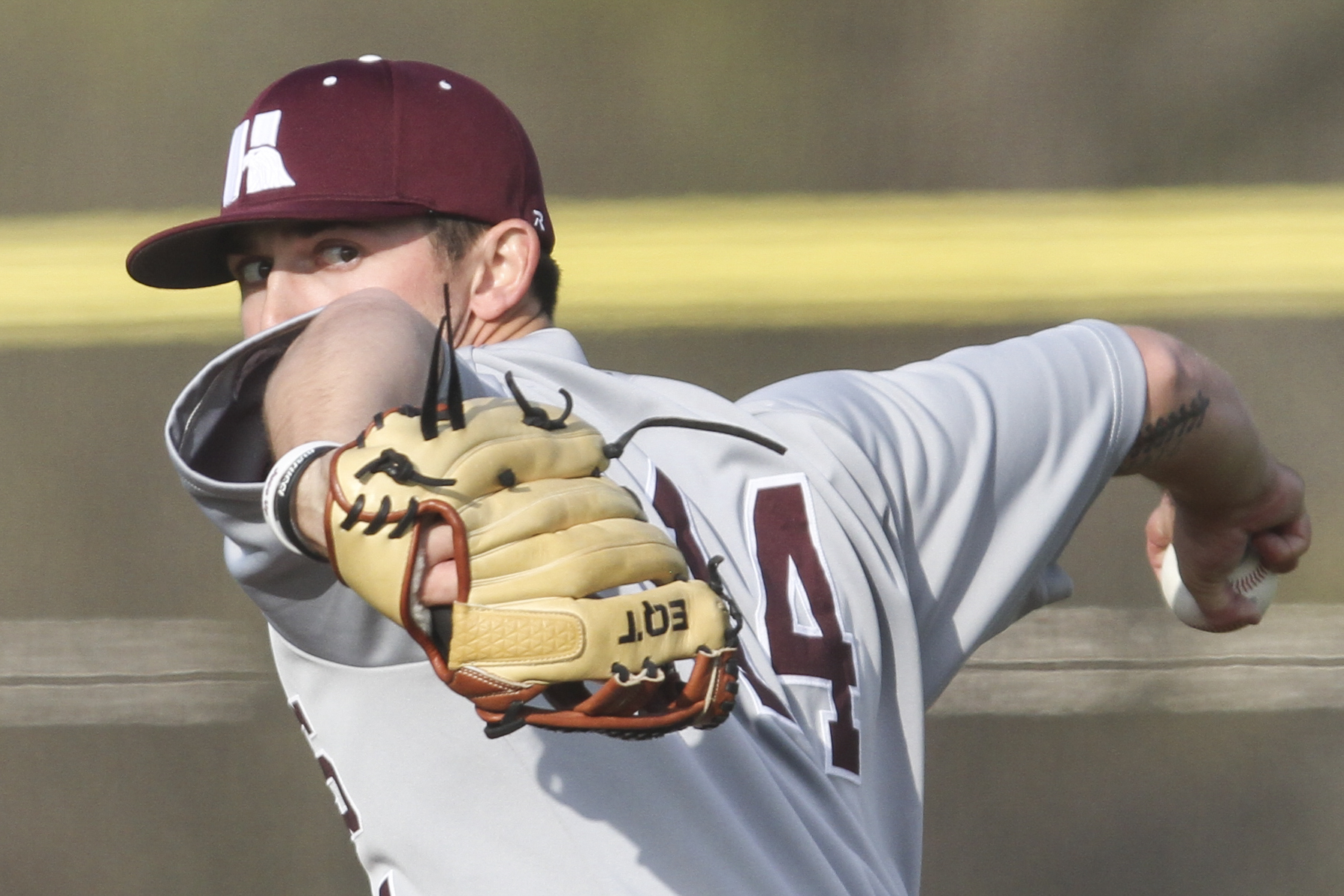 Hinds Community College Josh Banes (14) pitches against Baton Rouge Community College during the game at Sports Force Parks on the Mississippi Wednesday (Courtland Wells/The Vicksburg Post)