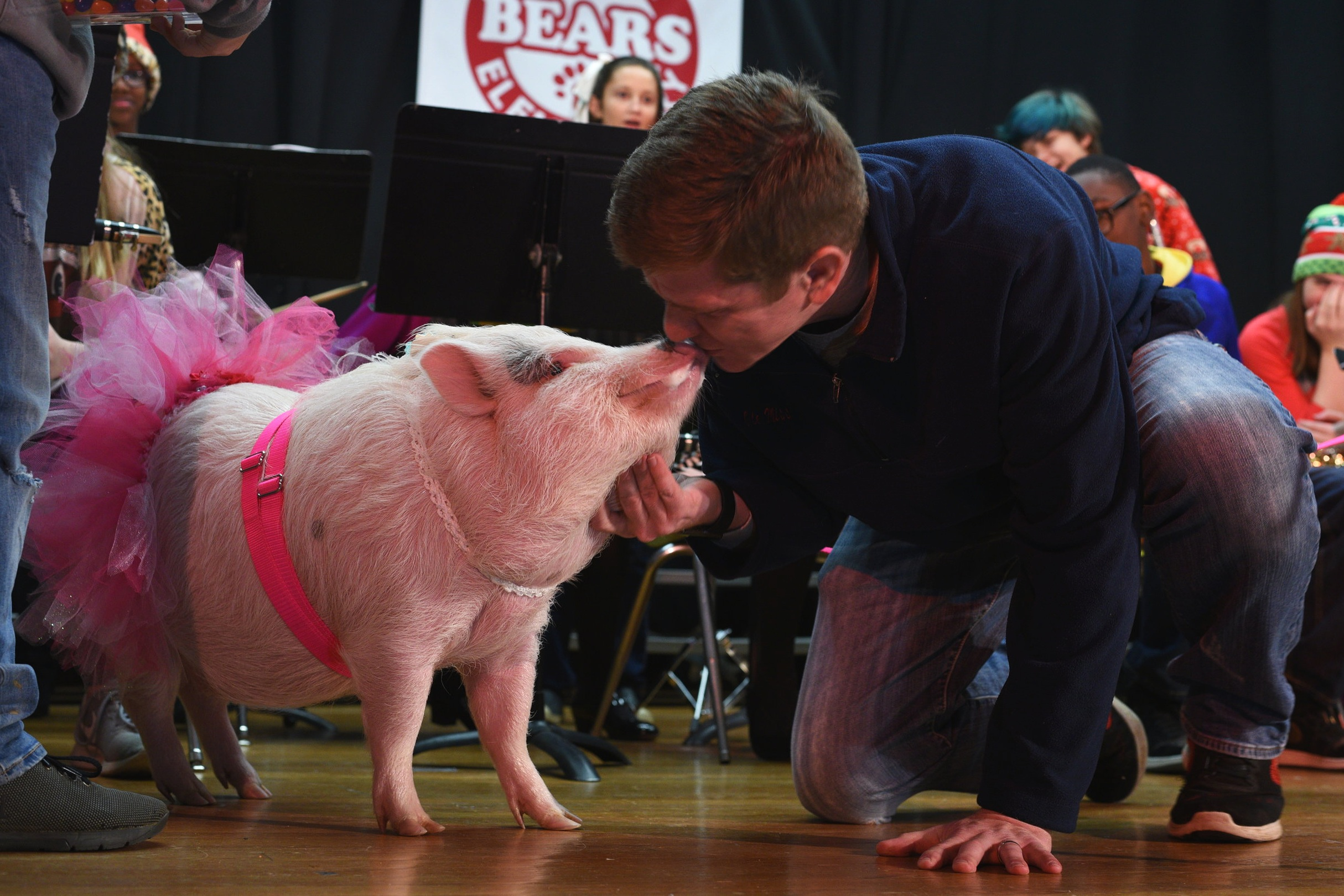 Principal Jason Bennett keeps a promise by kissing a pig, which he agreed to do if the Kindergarten through 6th grade students if the school was a able to raise the average reading level from 3.3 to 3.8 which they surpassed with a 3.9, before the annual Christmas Sing-A-Long at Bowmar Elementary School Friday (Courtland Wells/The Vicksburg