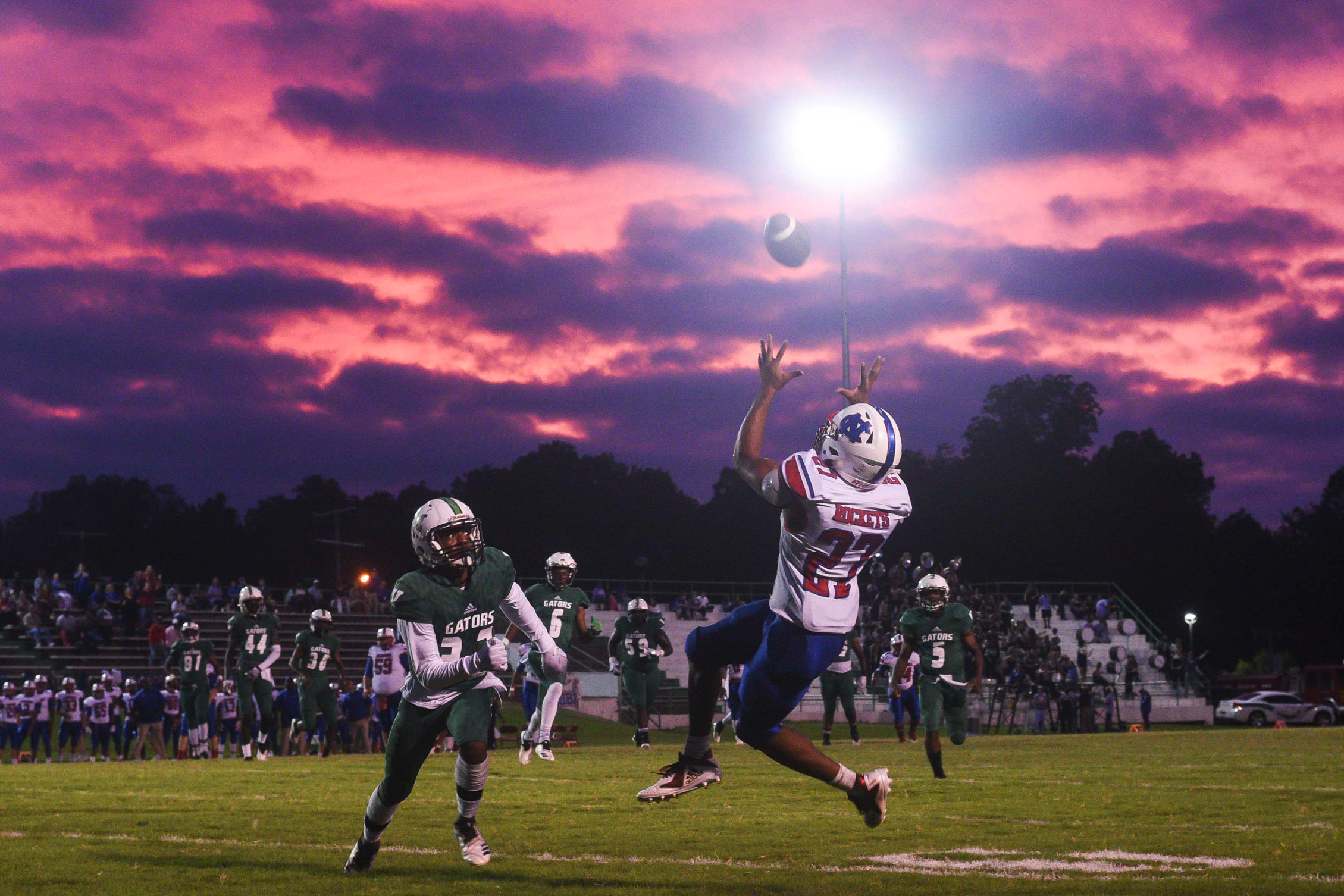 Neshoba Central's Jarquez Hunter (27) catches a touchdown pass against Vicksburg High on Friday Sept. 28, 2018. Hunter scored five touchdowns one receiving, three rushing and another on defense as Neshoba beat the Gators 68-42.