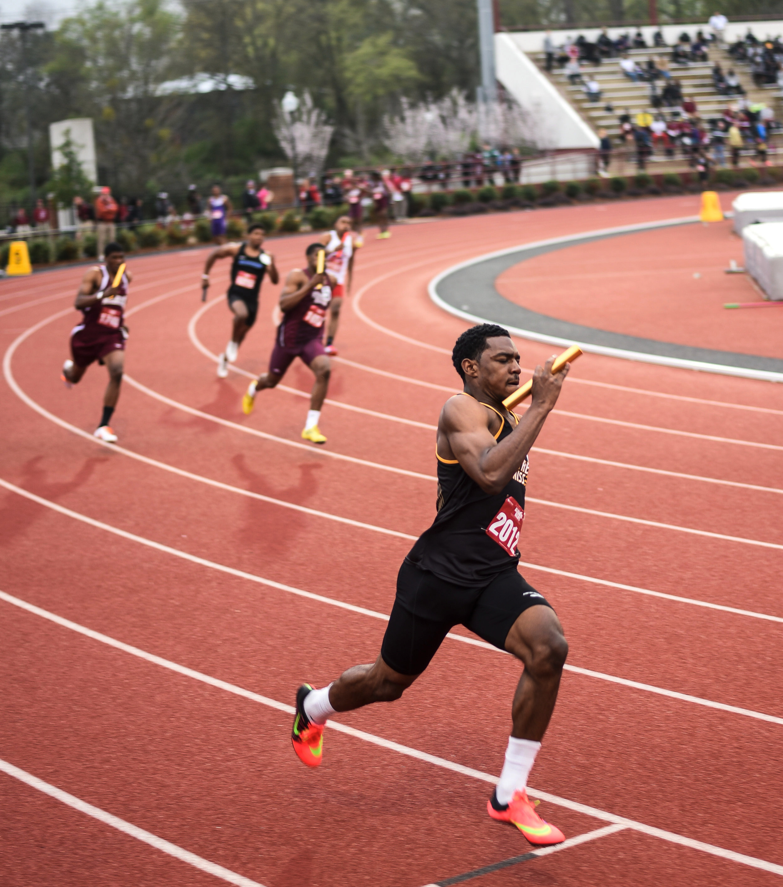 Southern Miss' Cory Miller runs the third leg in the Men's 4x200m Relay at the John Mitchell Alabama Relays in Tuscaloosa, Alabama March 20, 2015.. The Southern Miss Mens 4x200m team finished second overall with a time of 1:24.83, which is a school record.