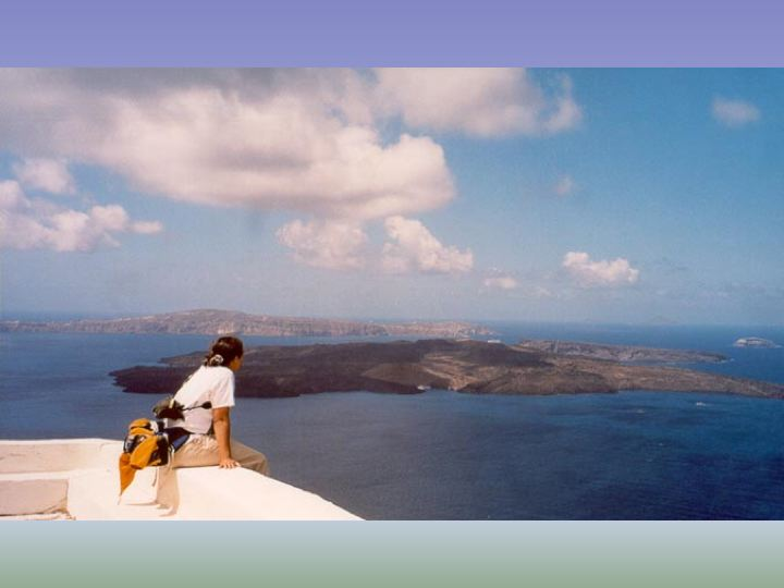 Joannaon her first visit to Santorini