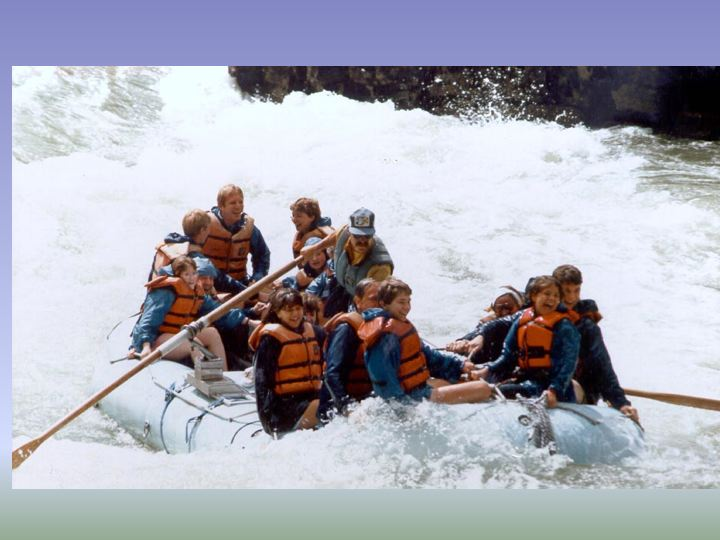 Rafting on the rapids of the Snake River with friends and family