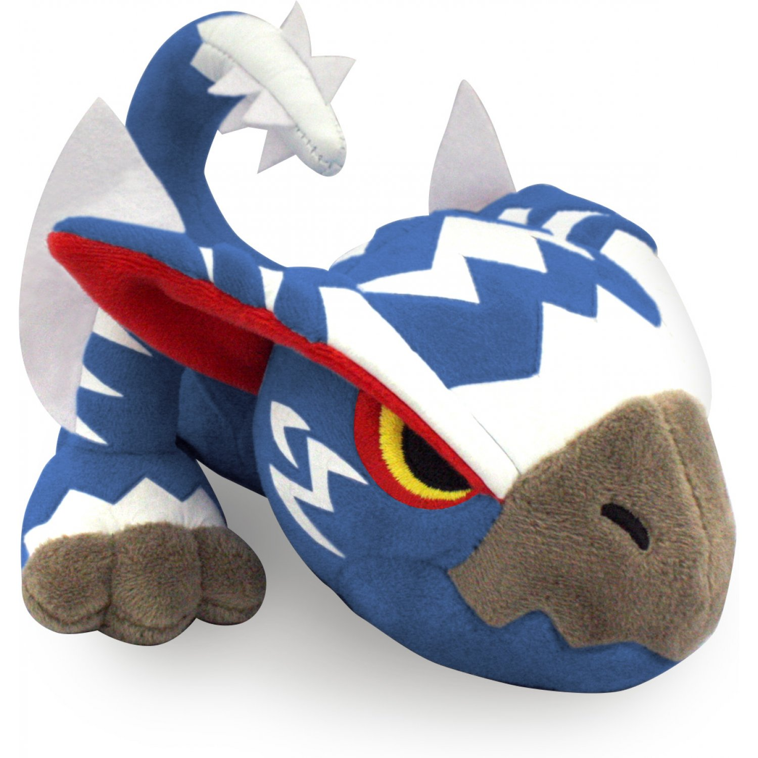 Silverwind Nargacuga - Next, we have a mysterious Silverwind Nargacuga (AKA White Gale Wind Nargacuga) captured from the Jurassic Frontier. Nearly 8 inches long, this ferocious beast is made of the same soft fabric as Yian Garuga. Its wings and tail spikes are made of felt, and its eyes are embroidered with a delightfully grumpy expression. The bright stripes are painted onto the fabric with a thick material that will not crack easily and resembles the texture of pleather. All in all, it would be worth risking the Bleeding Ailment to snuggle this sweetie.