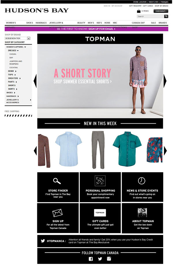 Hudson's Bay Microsite | concept and launch design