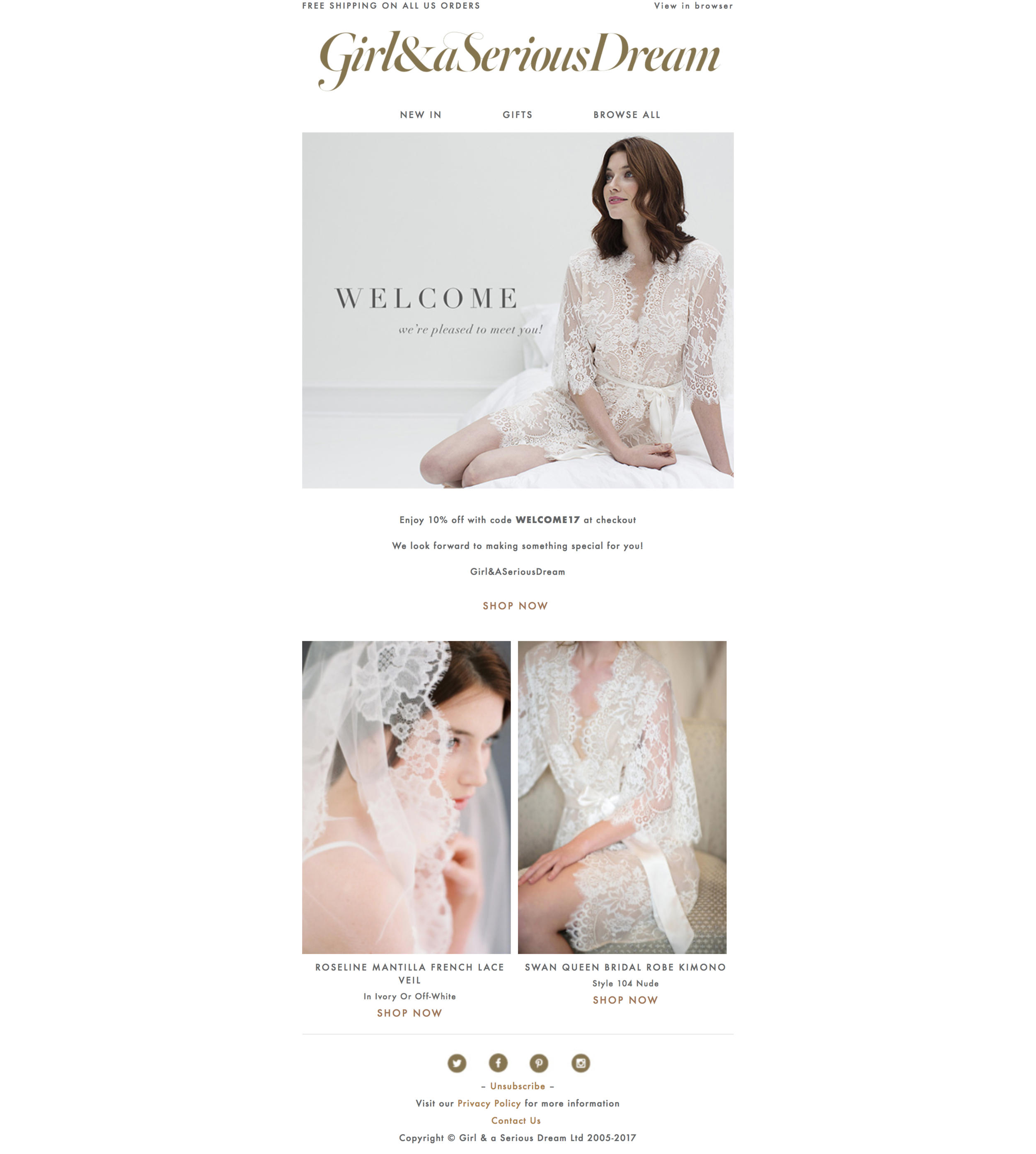 Welcome campaign email design