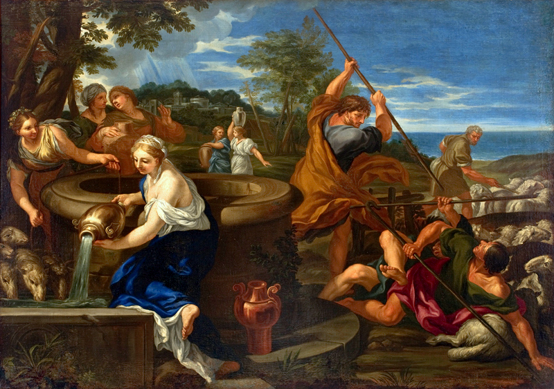 Moses and the Daughters of Jethro  by Ciro Ferri  via Wikimedia Commons . This is a public domain image.