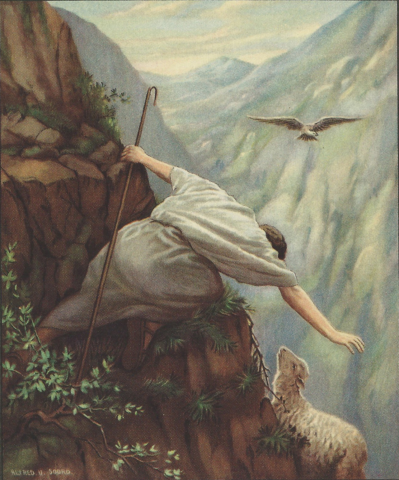 Image credit: The Lost Sheep from Lillie A. Faris, Standard Bible Story Readers, Book 1, page 110. This is a public domain image.