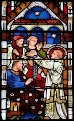 St. Stephen before the Sanhedrin , image by Lawrence, OP of a stained glass window from Exeter College chapel in Oxford, via Flickr. This image is licensed under  Creative Commons 2.0-by-nc-nd .