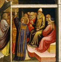 St. Stephen before the High Priest and Elders of the Sanhedrin  by Mariotto di Nardo  via Wikimedia Commons . This public domain image was cropped by Michael Gilbertson to eliminate the left hand panel.