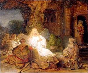Abraham Serving the Three Angels  by Rembrandt,  via Wikimedia Commons . This is a public domain image.