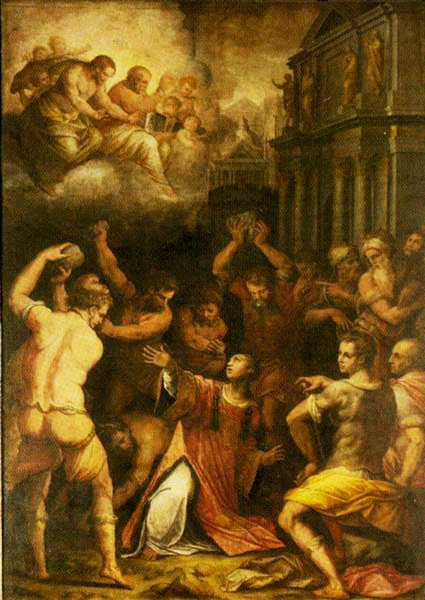 Stoning of St. Stephen  by Giorgio Vasari,  via zh.wikipedia.org . This is a public domain image