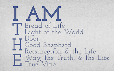 I Am  by the Oak Hill Baptist Church,  via Vimeo . Logo from a sermon series preached by Chris Holdorf at Oak Hill Baptist Church. There is video of the series at this link  Oak Hill Baptist Church I Am Series .