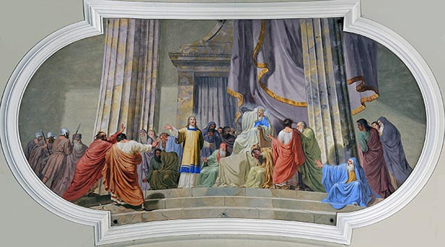 Saint Stephen tried before the Sanhedrin by Josef Arnold der Ältere in the parish church of Lajen. Image by Wolfgang Moroder, via Wikimedia Commons . Go to the Wikimedia link to see restrictions. This image is licensed under  licensed under Creative Commons 3.0 .
