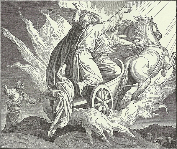 - Elijah is in a chariot, with flames all around. An angel drives. The chariot is headed into the sky. Elisha is below, looking upward.