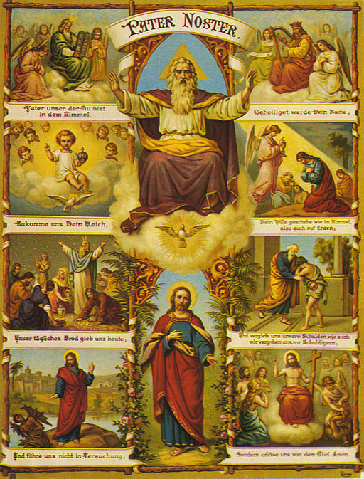 The center column has God as an old man seated on a throne, the Holy Spirit as a dove, and Christ standing alone. There are additional images related to phrases from the Lord's Prayer.