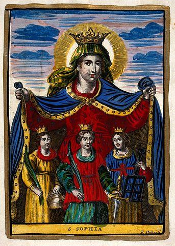 Saint Sophia. Colored engraving by F. Huberti.